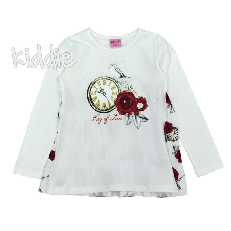 Детска блуза Ativo часовник с рози за момиче
