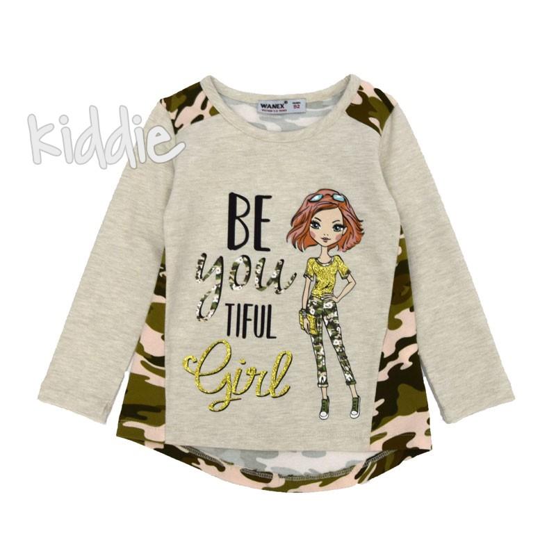 Детска блуза Wanex с камуфлажни елементи за момиче
