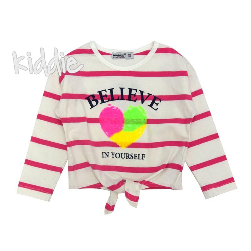Детска блуза за момиче Wanex в райе и със сърце