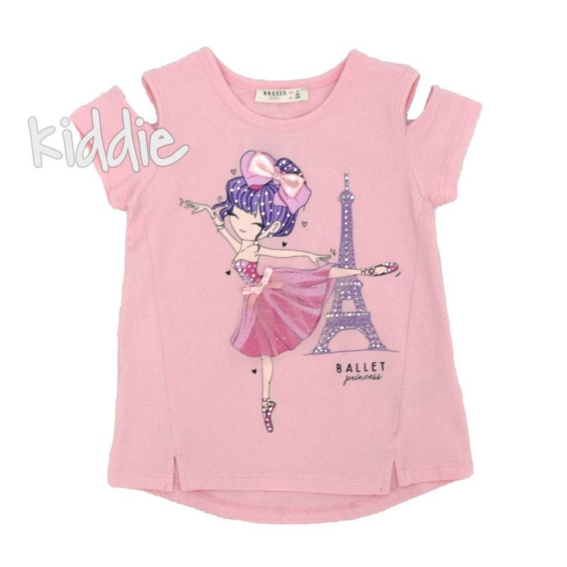 Детска тениска Breeze с изрязани ръкави за момиче