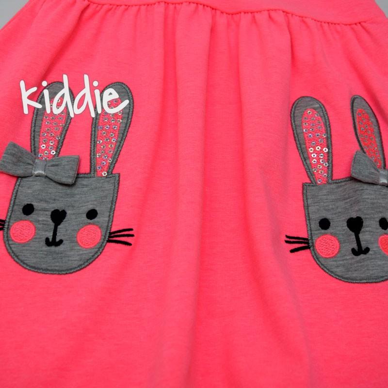 Детска рокля Breeze от трико с две зайчета