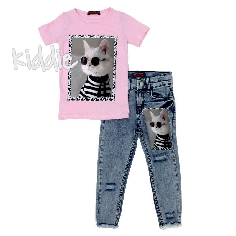 Детски комплект дънки и тениска с котка за момиче