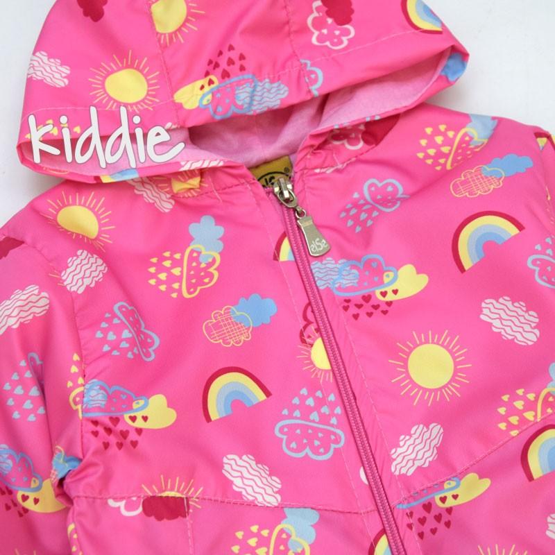 Детско яке Else ветровка за момиче с облаци и дъга