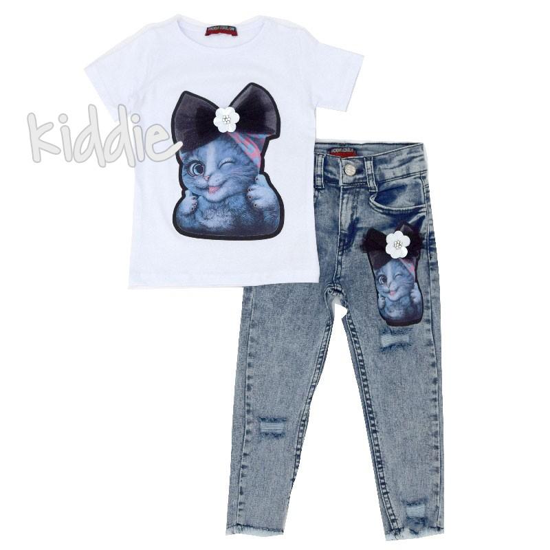Детски комплект дънки с тениска Котка за момиче