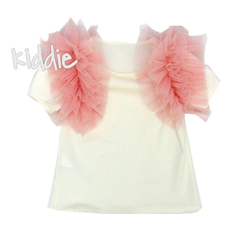 Детска тениска за момиче с тюлени ръкави