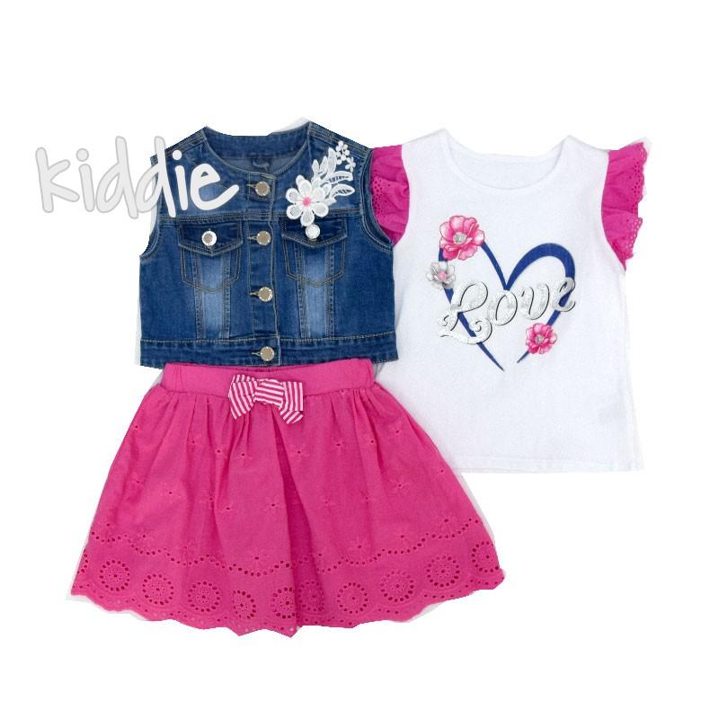 Детски комплект Lollitop от три части с дънков елек за момиче