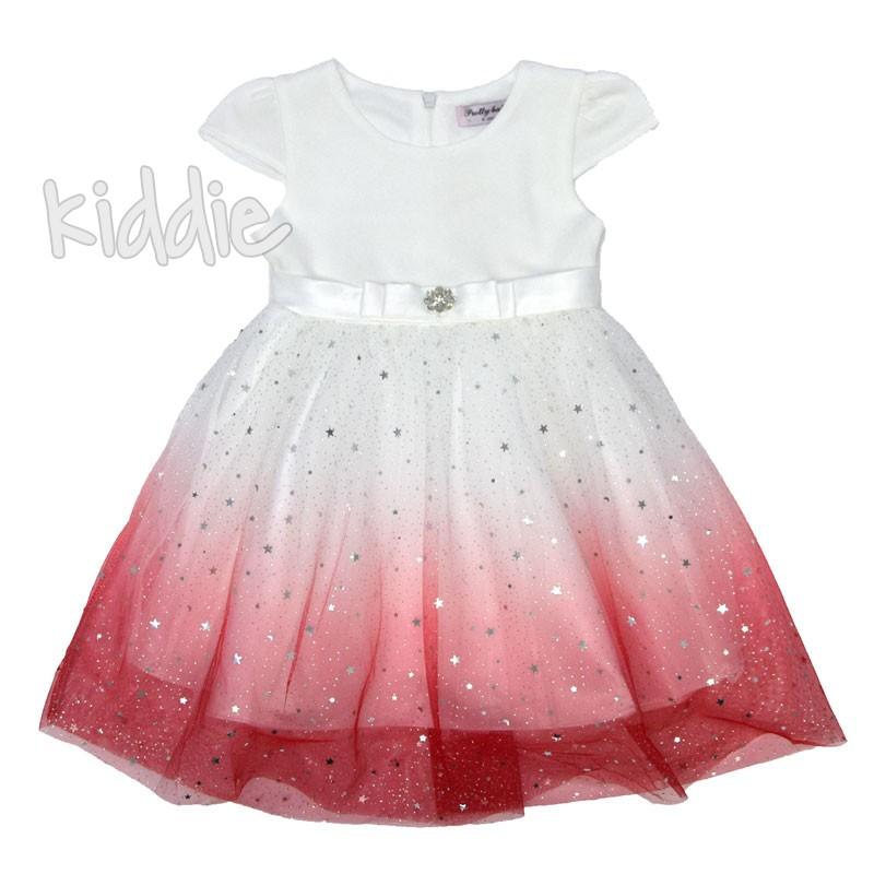 Официална детска рокля с панделка отпред
