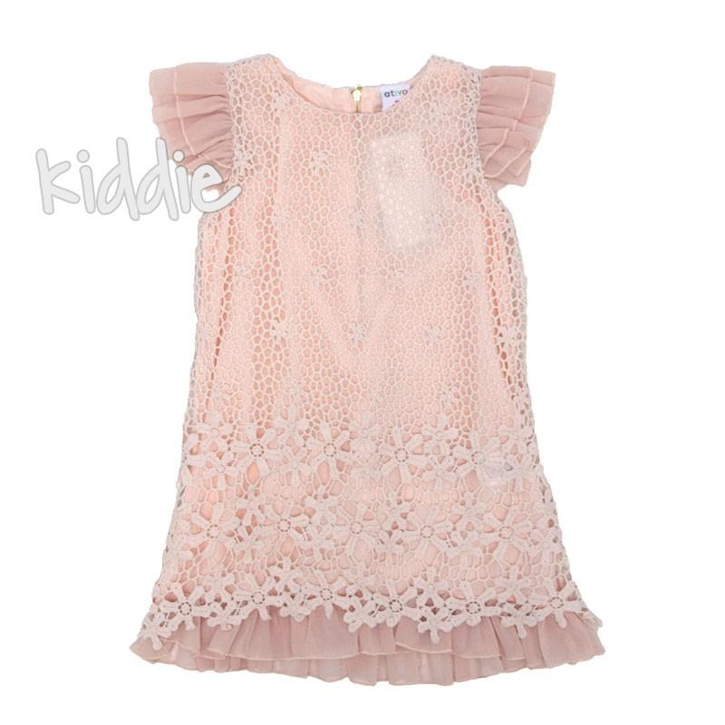 Детска рокля Ativo с рязана дантела
