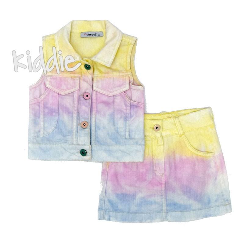 Детски дънков комплект в преливащи цветове за момиче