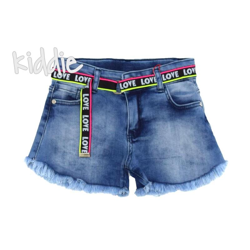 Детски къси дънкови панталони Cikoby с колан за момиче