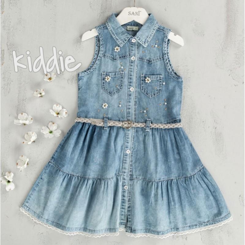 Детска дънкова рокля Sani с перли