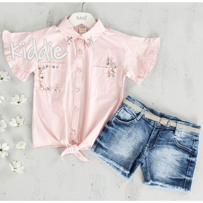 Детски комплект Sani за момиче с риза