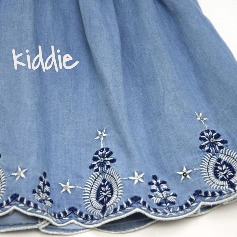 Детска дънкова рокля Sani с бродирани цветя