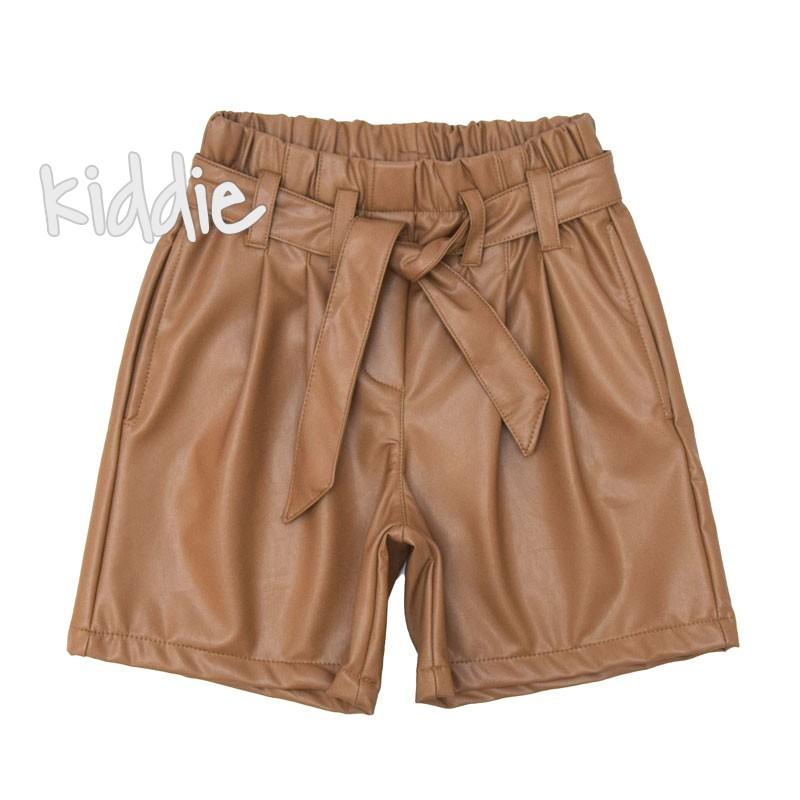 Детски кожени панталони Loco Loco с висока талия за момиче