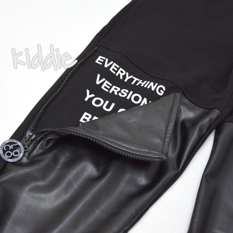 Детски панталон Loco Loco с кожен джоб за момиче