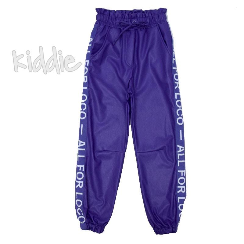 Детски кожен панталон Loco Loco с джобове за момиче