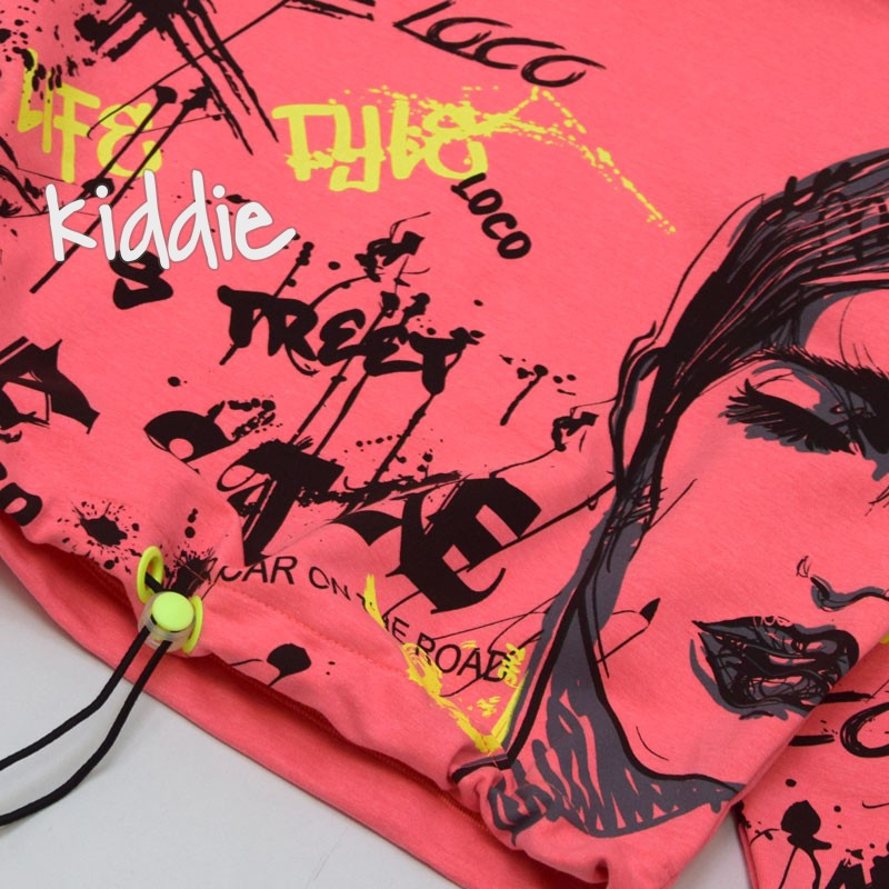 Детска блуза за момиче с надписи и качулка Loco Loco