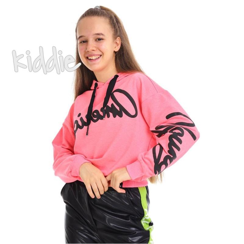 Детска блуза Loco Loco с качулка и надписи за момиче