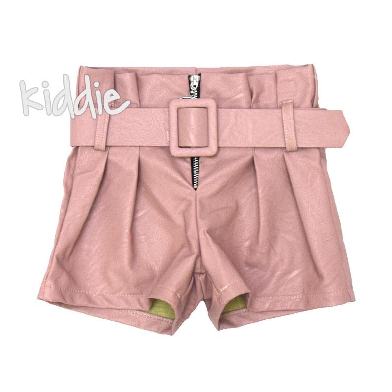 Детски кожен панталон с висока талия
