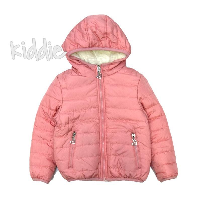 Детско яке Pink Baby за момиче с две лица и бял пух