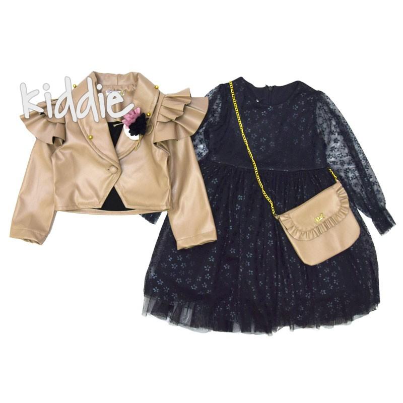 Детска рокля Miss Love с кожено болеро и чанта