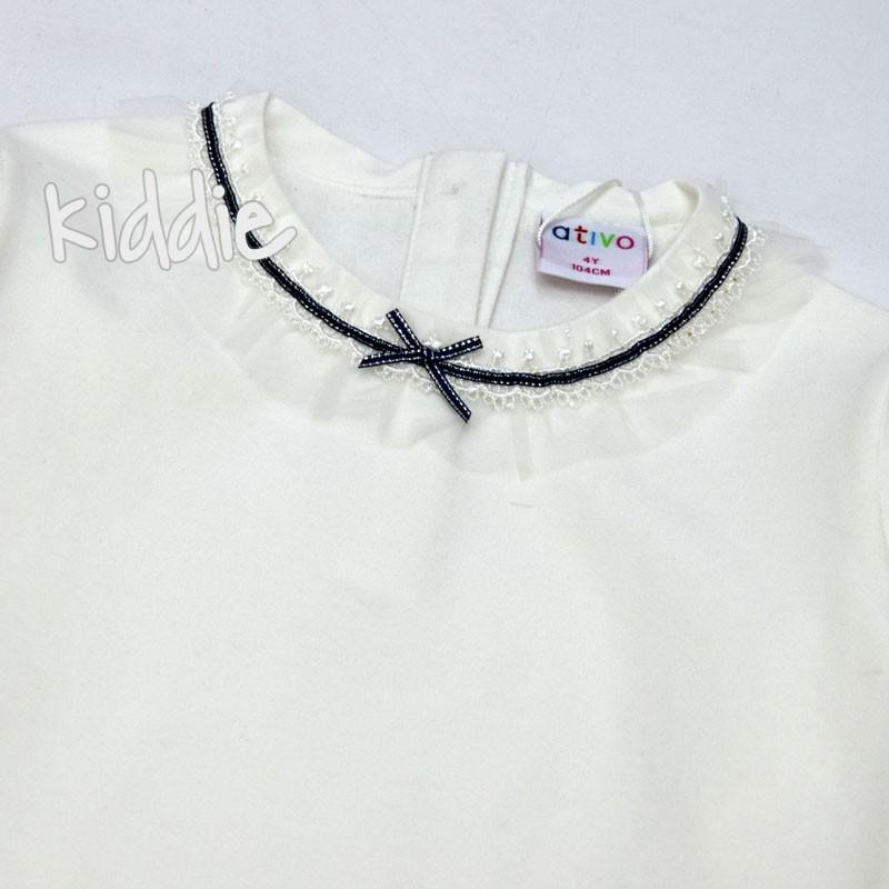 Детска изчистена блуза Ativo за момиче с дантела