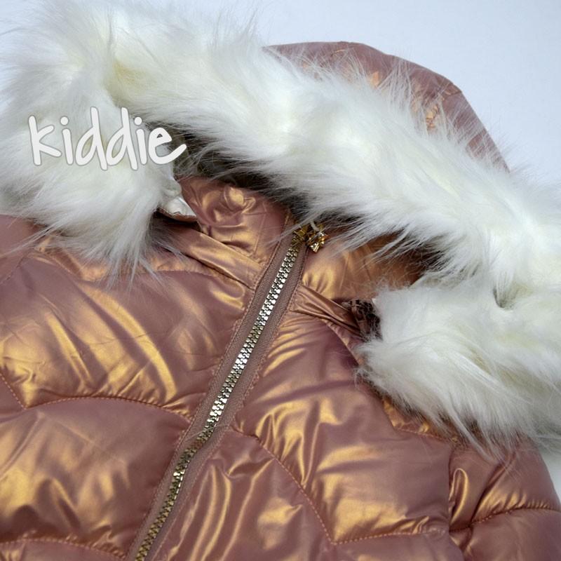 Детско издължено яке Karino Kids за момиче с пух