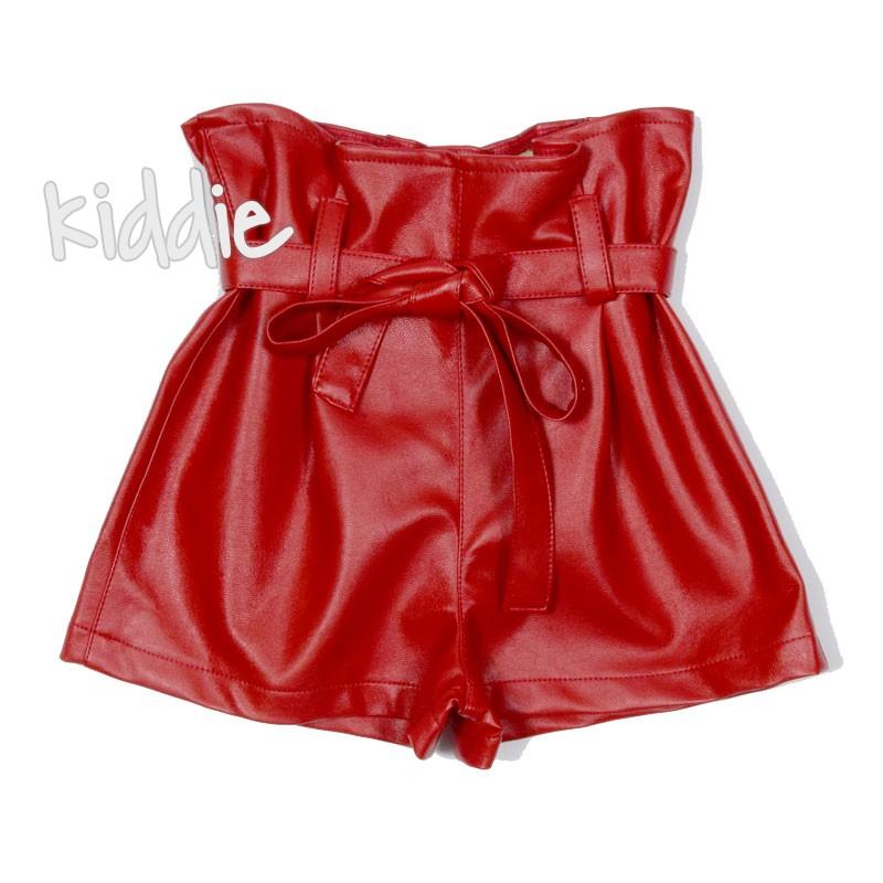 Къси детски кожени панталони за момиче Contrast