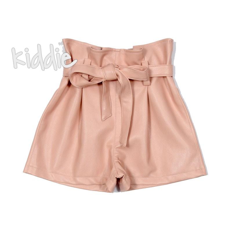 Детски къси кожени панталони за момиче Contrast