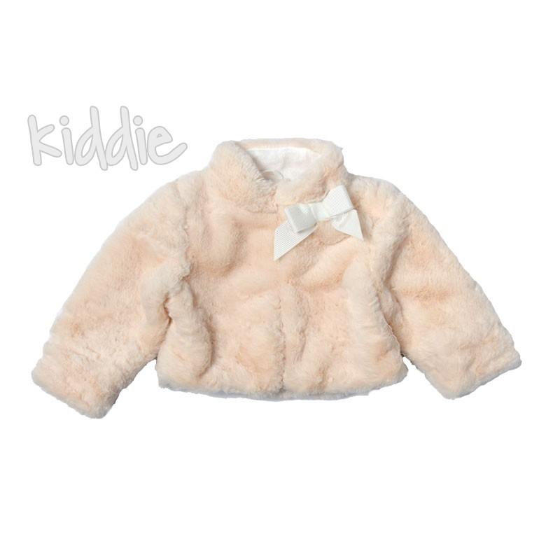 Бебешко пухкаво късо палто Contrast за момиче