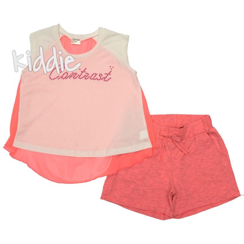 Детски комплект Contrast за момиче с къси панталони