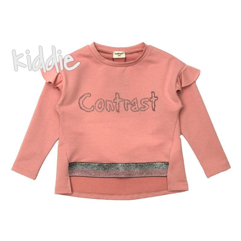 Детска блуза Contrast за момиче с лого