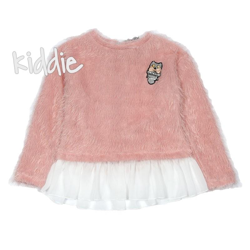 Детска плетена блуза Contrast за момиче