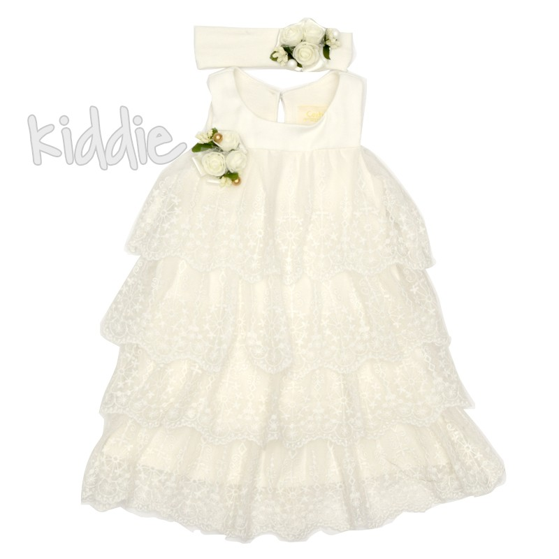 Бебешка рокля Contrast с лента за коса