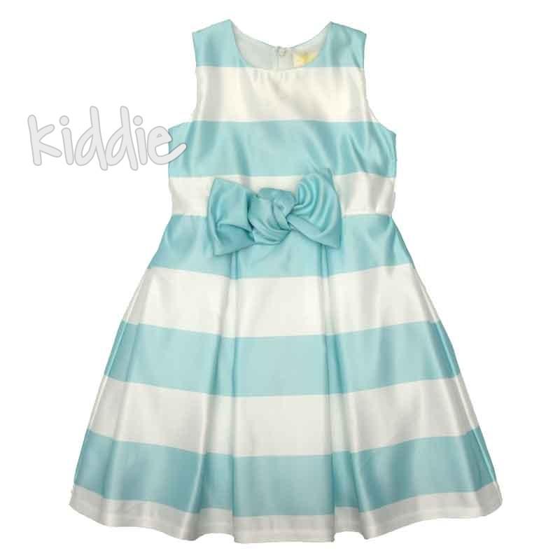 Детска рокля Contrast в райе с панделка на талията