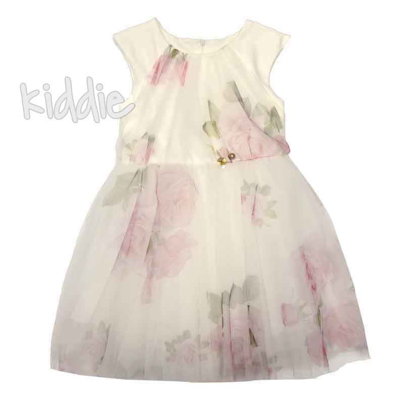 Детска рокля Contrast с тюл на нежни рози