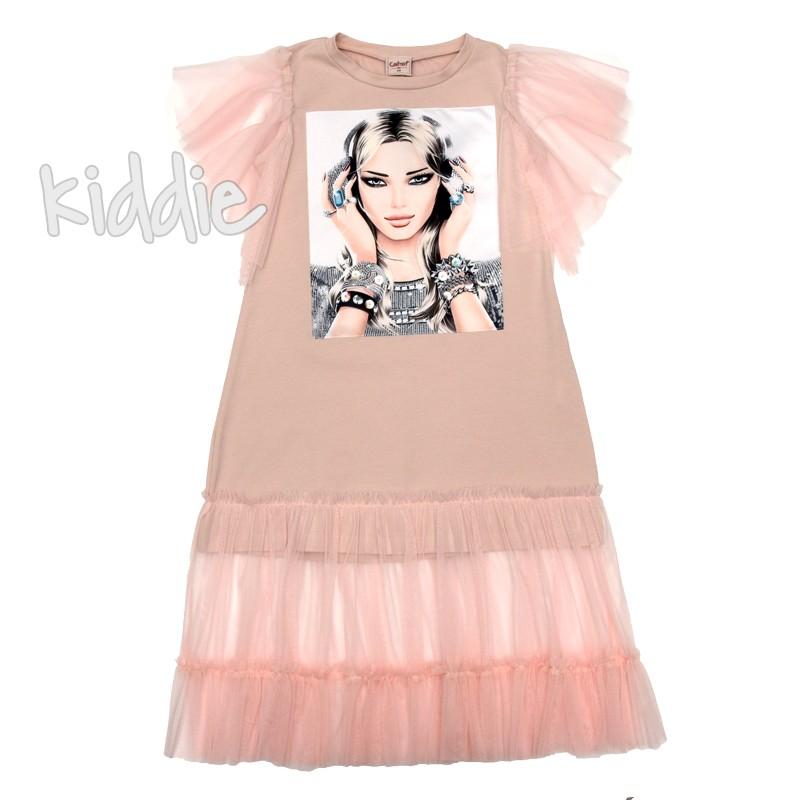 Детска рокля Contrast с тюлена къдрица на подгъва