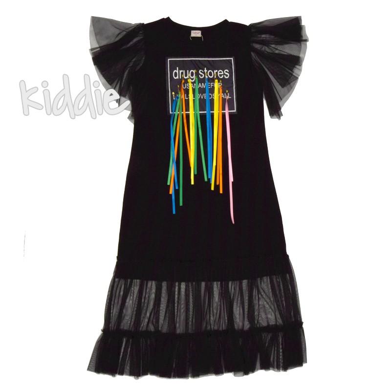 Детска рокля Contrast с къдрица на подгъва