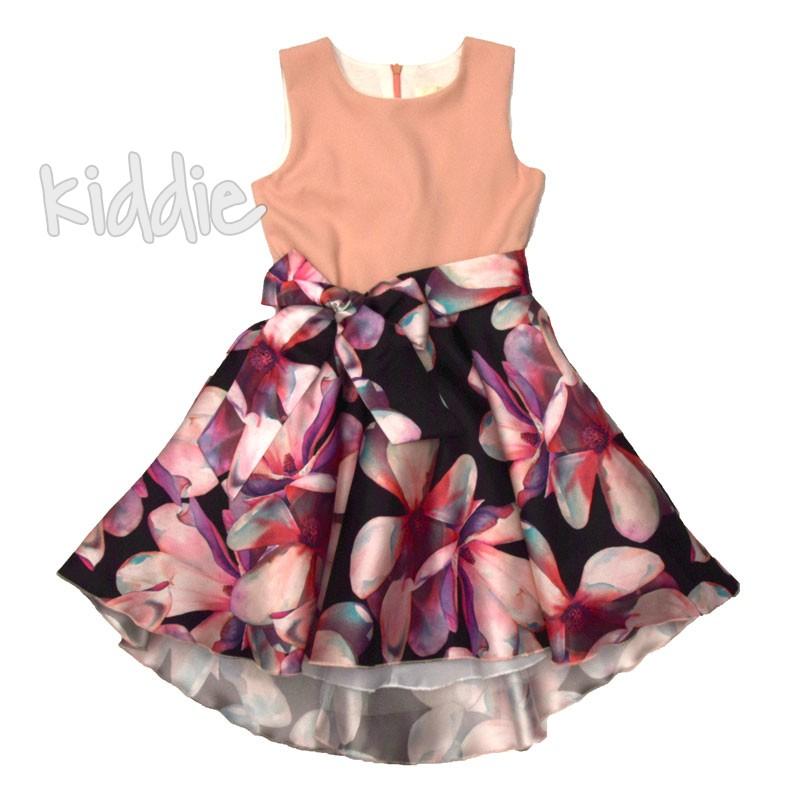 Детска рокля Contrast с панделка на талията