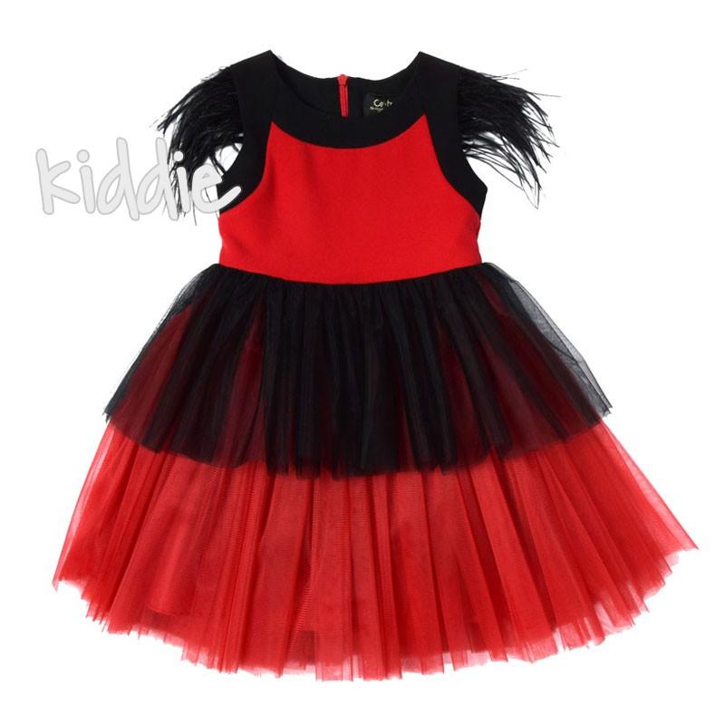 Детска рокля с пера на раменете Contrast