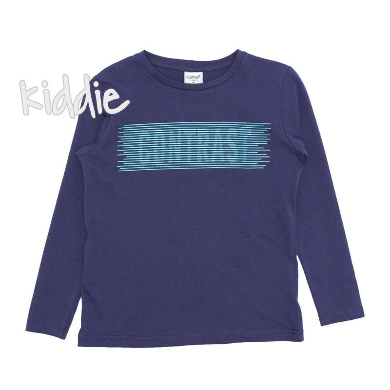 Детска блуза Contrast за момче с надпис