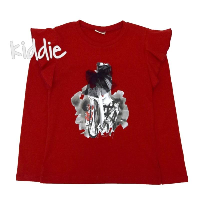 Детска блуза Contrast за момиче с къдрици на рамената