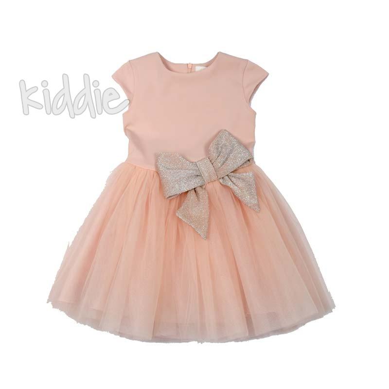 Детска рокля Contrast с панделка и тюл