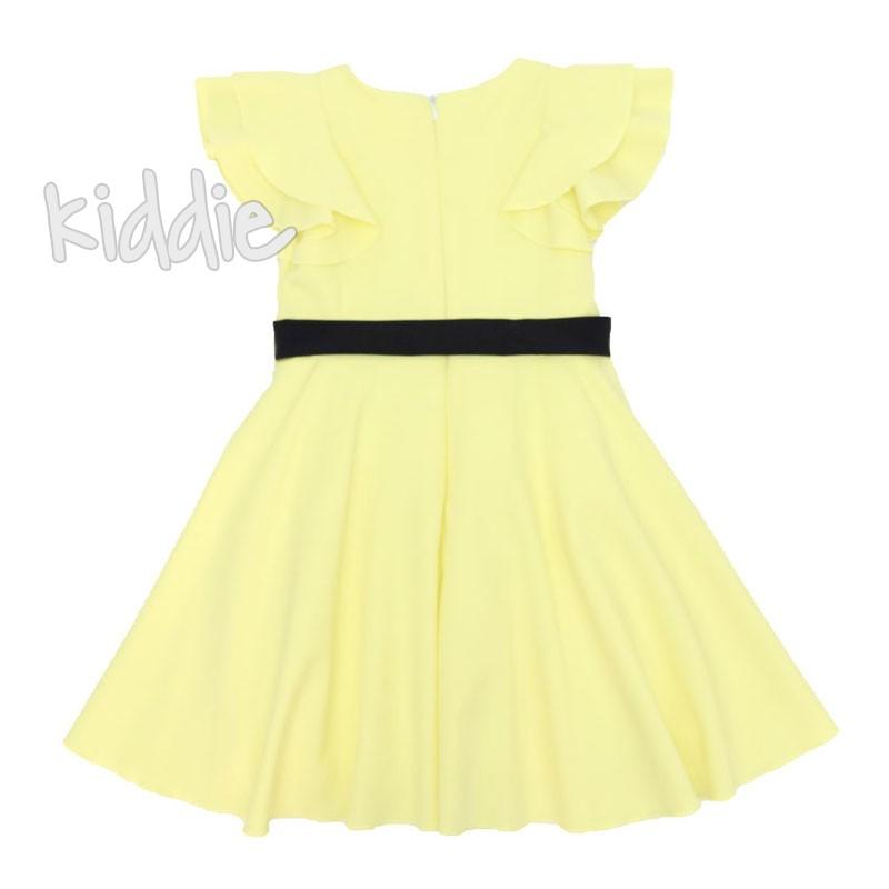 Детска едноцветна рокля Contrast с колан