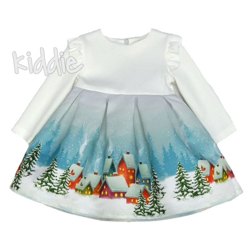 Детска коледна рокля Contrast с къдрички