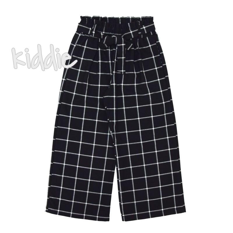 Детски широк панталон Contrast за момиче с висока талия