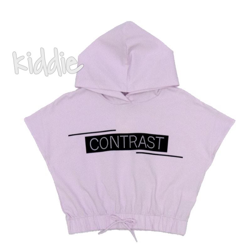 Детска блуза Contrast с качулка за момиче