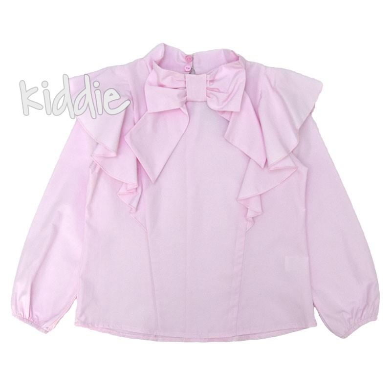 Детска риза Contrast за момиче с панделка