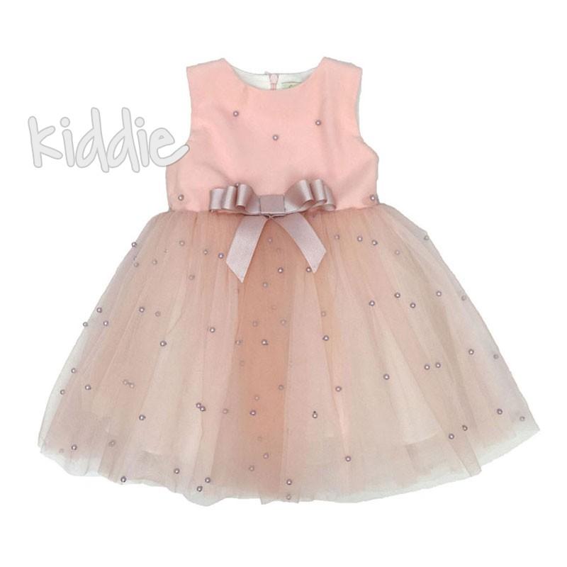 Официална бебешка рокля Contrast с перли