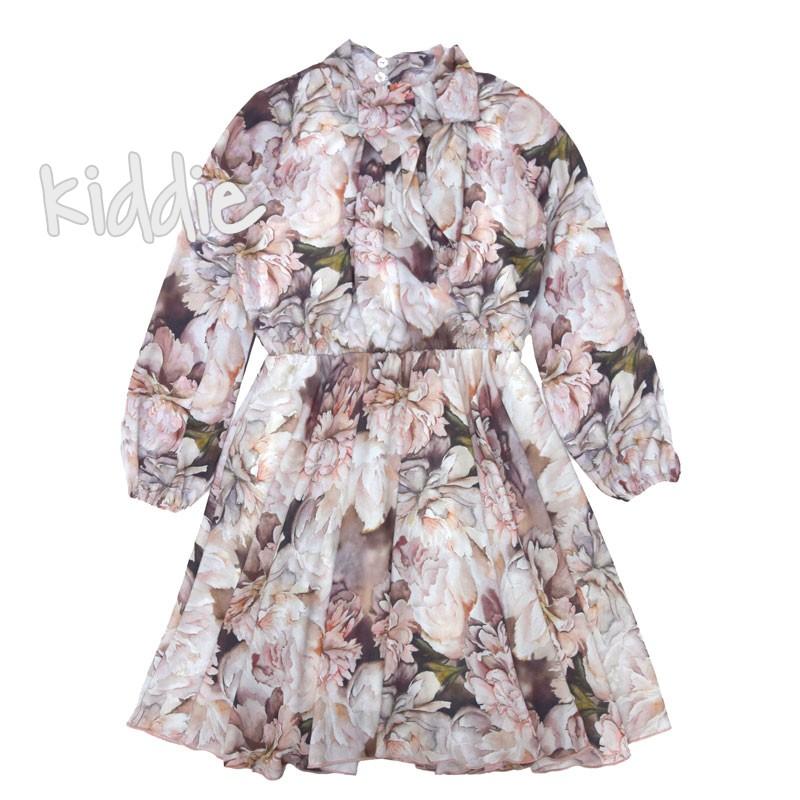 Детска шифонена рокля с дълъг ръкав Contrast